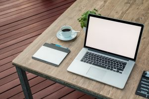 Laptop Coffee Plant Desk
