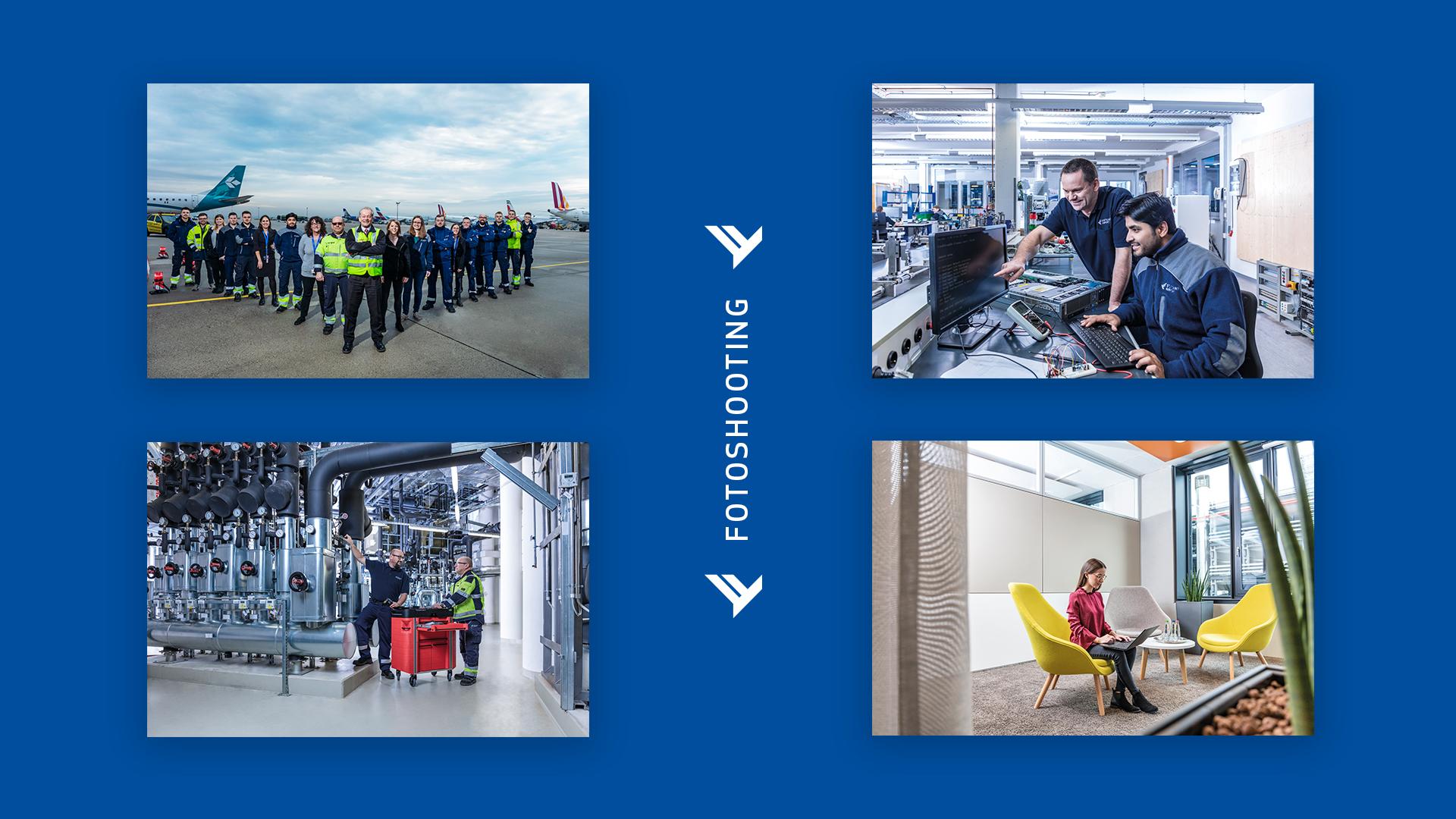 emplify Referenzprojekt Stuttgart Airport vier Bilder vom Fotoshooting