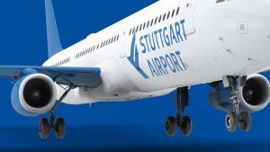 emplify Referenzprojekt Flugzeug mit Logo Stuttgart Airport
